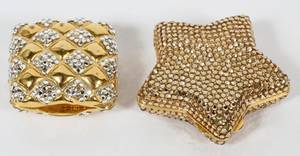 JUDITH LEIBER CRYSTAL BEAD PILL BOXES TWO