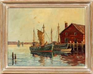 WILLIAM WARD JR OIL ON CANVAS DOCK SCENE