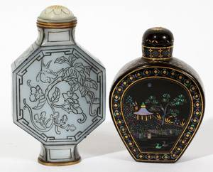 021372 CHINESE ABALONE SNUFF BOTTLES TWO H 2 12