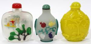 021368 CHINESE CARVED GLASS SNUFF BOTTLES
