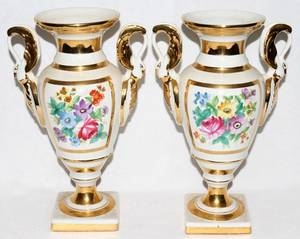 010289 FRENCH HAND PAINTED PORCELAIN URNS PAIR H 11