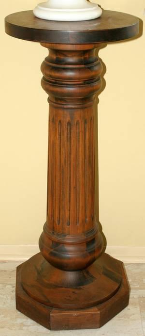 101393 FLUTED WOOD COLUMNAR PEDESTAL C 1900 H 35