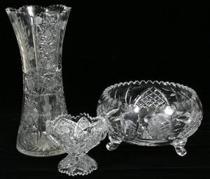 091431 AMERICAN CUT GLASS BOWL VASE  COMPOTE