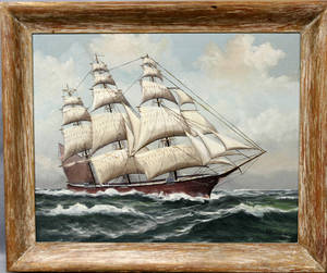 082299 H HOWE OIL ON CANVAS SAILING SHIP