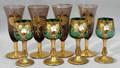 082314 VENETIAN MURANO GLASS GREEN  AMYTHST CORDIALS