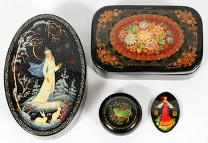 RUSSIAN LACQUER BOXES  PIN FOUR PIECES
