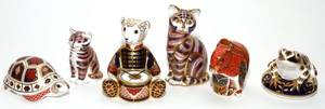 ROYAL CROWN DERBY PORCELAIN ANIMAL PAPERWEIGHTS