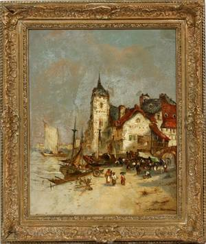 JULES VERON FRENCH OIL ON CANVAS HARBOR SCENE