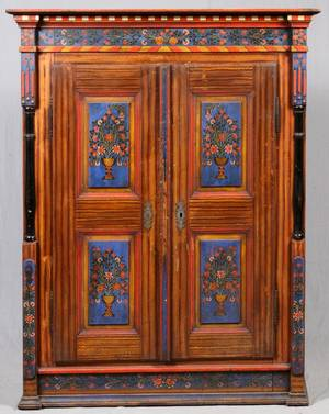 AMERICAN ANTIQUE HAND PAINTED PINE WARDROBE C1900