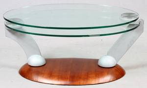 CONTEMPORARY CAST METAL AND GLASS COFFEE TABLE
