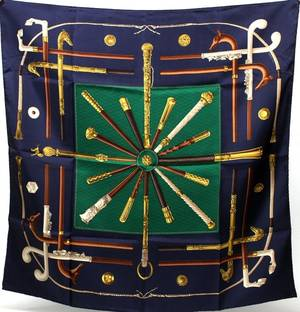 HERMES CANNES  POMMEAUX SILK SCARF