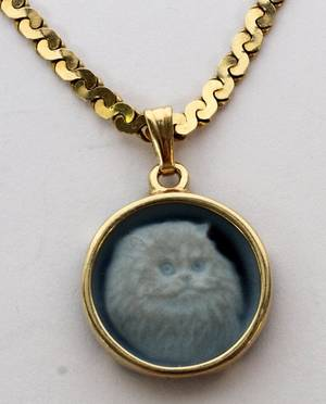 10KT YELLOW GOLD CHAIN AND CAMEO CAT PENDANT