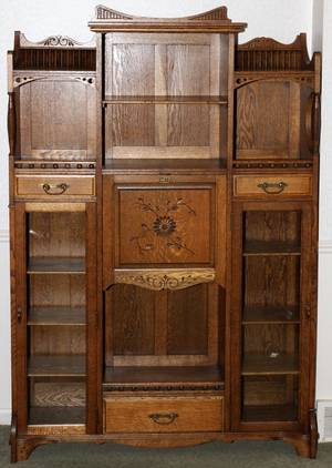 AMERICAN OAK DESK BOOKCASE C 1900