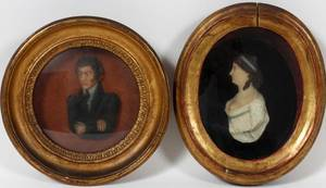 AUSTRIAN COLORED WAX PORTRAITS 2 19TH C