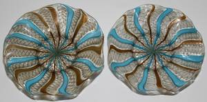021411 VENETIAN HANDBLOWN GLASS PLATES 19TH C TWO