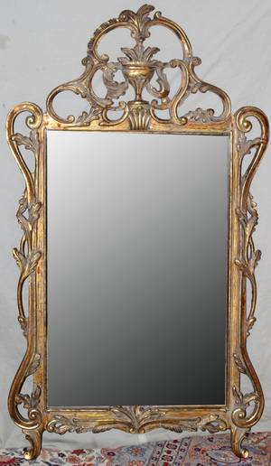 010348 CARVED GILT WOOD BEVEL GLASS MIRROR H 59