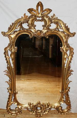 010347 CARVED WOOD AND BEVELED GLASS MIRROR H 60