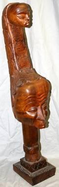 100406 NIGERIAN CARVED WOOD HEAD WPEDESTAL H38