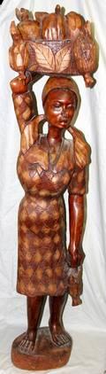 100405 HAITIAN WOOD FIGURE PEASANT WOMAN WFRUIT
