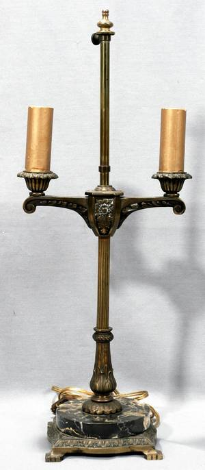 100395 PAIRPOINT STYLE BRONZE  BRASS TABLE LAMP