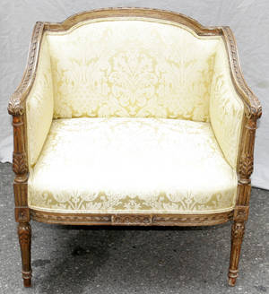 082351 LOUIS XVI STYLE CARVED WALNUT FRAME BERGERE