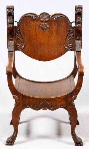 CARVED OAK ARMCHAIR EARLY 20TH C