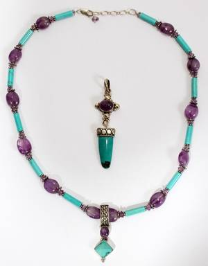 021459 TURQUOISE  AMETHYST NECKLACE WITH PENDANT