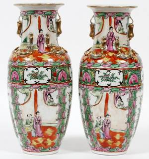 CHINESE ROSE MEDALLION PORCELAIN VASES 19TH C