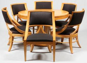 BAKER MIDCENTURY MODERN MAPLE DINING TABLE CHAIRS