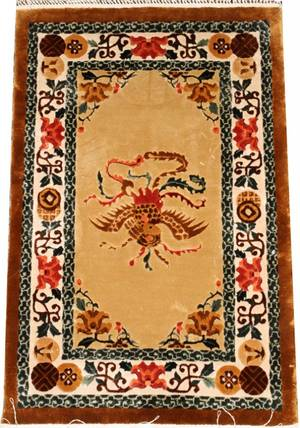 CHINESE SILK HAND WOVEN RUG