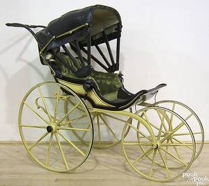 Victorian carved and painted pram late 19th c