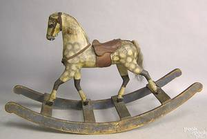 Carved and painted rocking horse late 19th c