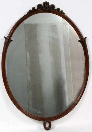 WALNUT OVAL FRENCH STYLE WALL MIRROR