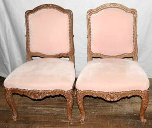 091557 FRENCH LOUIS XV STYLE WALNUT SIDE CHAIRS PAIR