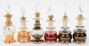 EGYPTIAN GLASS PERFUME BOTTLES SIX PIECES