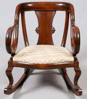 MAHOGANY ARMCHAIRROCKING CHAIR LATE 19TH C