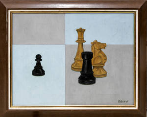 082474 J PERRY JR OIL ON CANVAS CHESS