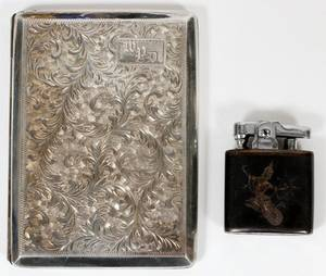 SIAMESE STERLING LIGHTER  CIGARETTE CASE TWO