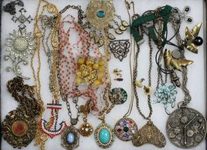 COSTUME JEWELRY NECKLACES EARRINGS  BROOCHES