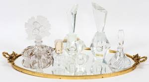 CRYSTAL PERFUME BOTTLES  TRAY 7 PIECES