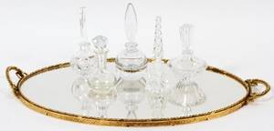 CRYSTAL PERFUME BOTTLES  TRAY SIX PIECES