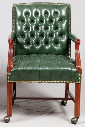TUFTED LEATHER DESK CHAIR