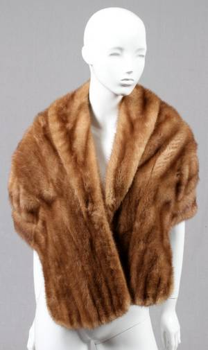 LIGHT BROWN MINK FUR SHAWL MID 20TH C