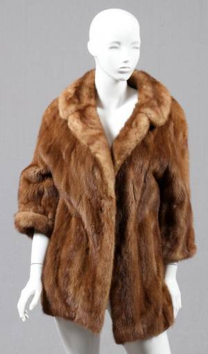 LIGHT BROWN MINK FUR JACKET MID 20TH C