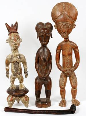 AFRICAN ASHANTI CARVED WOOD FERTILITY STATUES