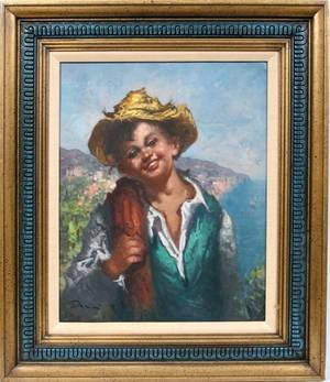 100561 ITALIAN OIL ON CANVAS YOUNG BOY IN VEST HAT