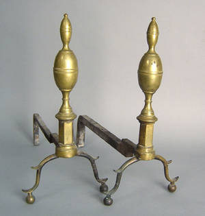 Pair of New York Federal brass andirons ca 1815