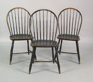Set of 3 New England bowback windsor side chairs ca 1820