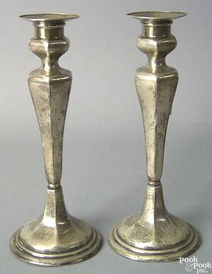 Pair of sterling silver weighted candlesticks