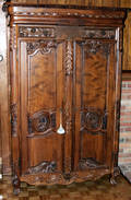 082031 CARVED WALNUT ARMOIRE